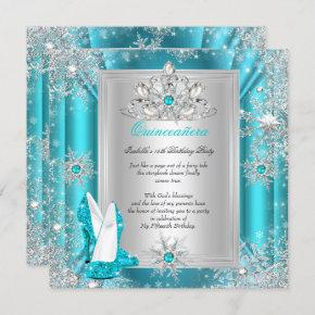 Quinceanera 15 Birthday Party Teal Heels 2 Invitation
