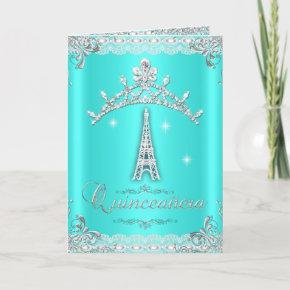 Quinceanera 15 Teal Blue Silver Tiara Eiffel Tower Invitation