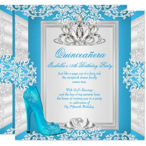 Quinceanera 15th Birthday Cinderella Blue Heel Card
