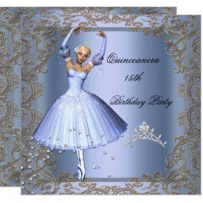 Quinceanera 15th Birthday Party Blue Ballerina Card