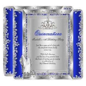 quinceanera 15th birthday royal blue silver shoes invitations
