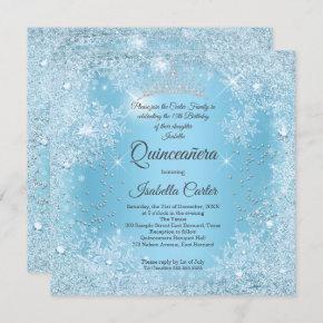 Quinceanera 15th Blue Snowflake Winter Birthday Invitation