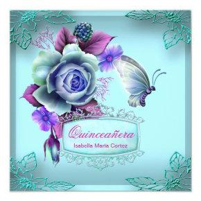 Quinceañera 15th Butterfly Teal Purple Party Invitation