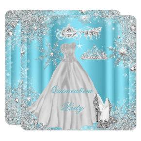 Quinceanera 15th Cinderella Blue Birthday Party Invitations