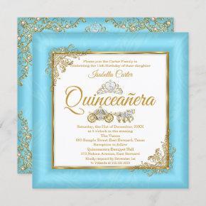 Quinceanera 15th Cinderella Blue Pearl Tiara Photo Invitation