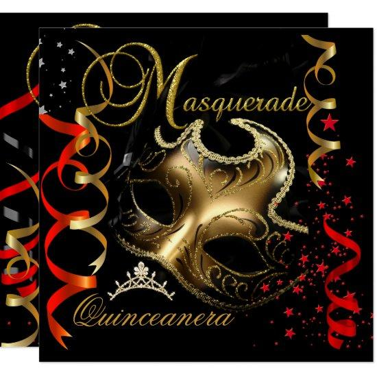 quinceanera 15th masquerade red gold mask invitations candied clouds