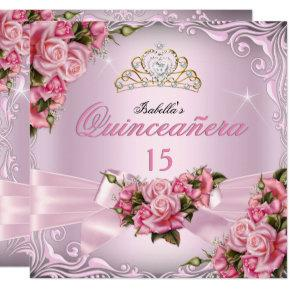 Quinceanera 15th Pretty Pink Roses Tiara Birthday Invitation