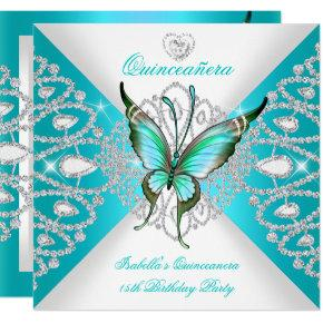 Quinceanera 15th Pretty Teal Blue Butterfly Tiara Invitation