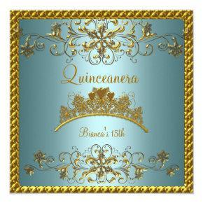 Quinceanera 15th Teal Blue Gold Tiara Card