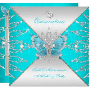 Quinceanera 15th Teal Blue Silver Butterfly Tiara Invitations