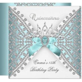 Quinceanera 15th Teal Blue Silver White Diamond Invitations