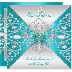 Quinceanera 15th Teal Silver Butterfly Tiara 2 Invitations