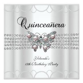 Quinceanera 15th White Butterfly Pearl Lace Invitation
