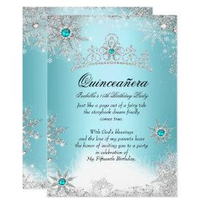 Quinceanera 15th Winter Wonderland Silver Blue 2 Invitations