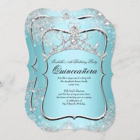 Quinceanera 15th Winter Wonderland Silver Blue Invitation