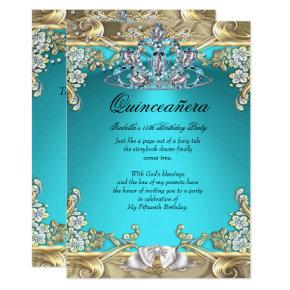 Quinceanera Aqua Teal Gold 15th Birthday Party Invitation