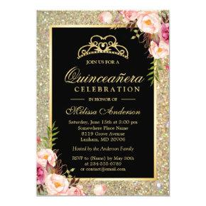 Quinceanera Birthday Floral Gold Glitter Sparkles Invitations