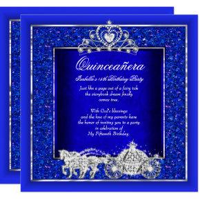 Quinceanera Birthday Horse Carriage Royal Blue Invitation