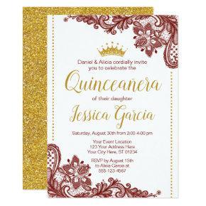 Quinceañera Birthday Invitation | Dark Red & Gold