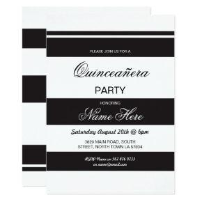 Quinceanera Birthday Party Stripe Black Invite 15