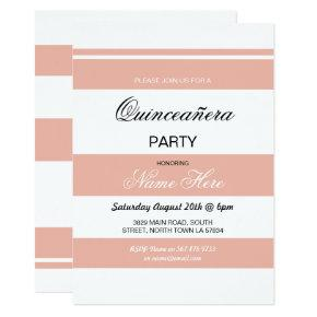 Quinceanera Birthday Party Stripe Coral Invite 15