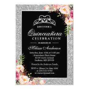 Quinceanera Birthday Silver Glitter Sparkle Floral Invitations