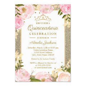 Quinceanera Birthday Sparkle Pink Gold Floral Invitations