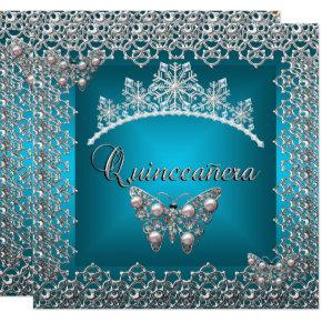 Quinceanera Birthday Teal Silver Tiara Butterfly Card