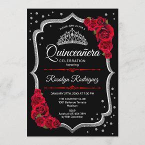 Quinceanera - Black Silver Red Invitation
