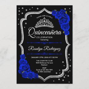 Quinceanera - Black Silver Royal Blue Invitation