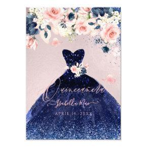 Quinceanera Blush Floral Navy Blue Glitter Gown Invitation