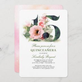 Quinceanera Blush Pink Floral 15th Birthday Invitation