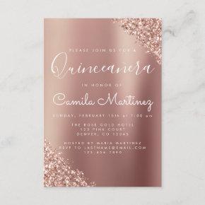 Quinceanera Blush Pink - Rose Gold Glitter Sparkle Invitation