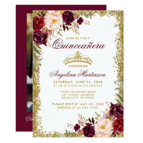 Quinceanera Burgundy Floral Gold Crown Photo Invitation