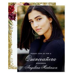 Quinceanera Burgundy Floral Gold Glitter Photo Invitation