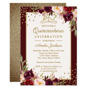 Quinceanera Burgundy Gold floral Sparkle Invite