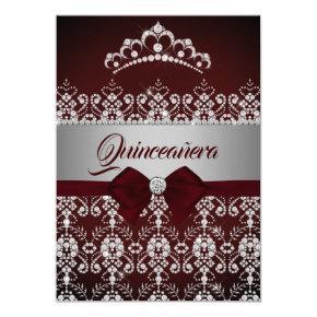 Quinceanera Burgundy Sparkle Diamond Tiara Bow Invitation