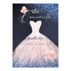 Quinceanera Butterfly Blush Glitter Gown Blue Navy Invitation