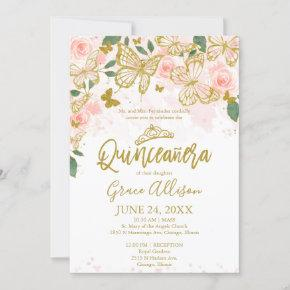 Quinceanera Butterfly Invitation Bilingual