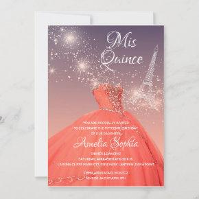 Quinceañera Coral Dress Eiffel Tower Night Sky