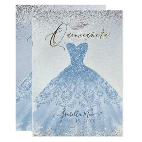 Quinceanera Dusty Blue+Silver Glitter Gown Invitation