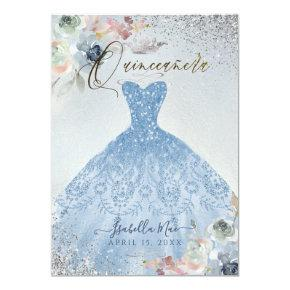 Quinceanera Dusty Blue Silver Glitter Gown Roses Invitation