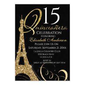 Quinceanera Eiffel Tower Gold Black 15th Birthday Invitation