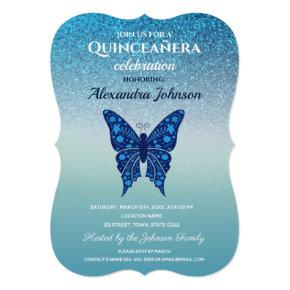 Quinceanera Elegant Glitter Blue Floral Butterfly Invitation