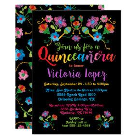 Quinceañera Fiesta Birthday Party with embroidery Invitation