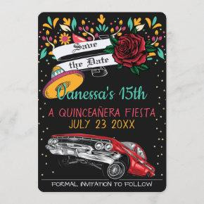 Quinceanera fiesta floral w/ lowrider & red rose invitation