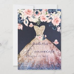Quinceanera Floral Glitter Gown Ombre Rose Gold Invitation