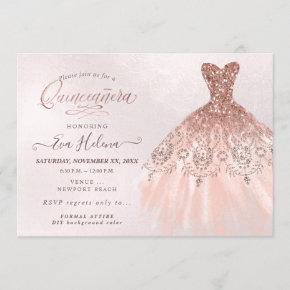Quinceañera , Glitters Gown, Faux Rose Gold Invitation