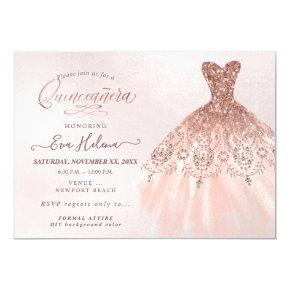 Quinceañera , Glitters Gown, Faux Rose Gold Invitation