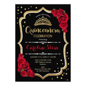 Quinceanera - Gold Black Red Roses Invitation